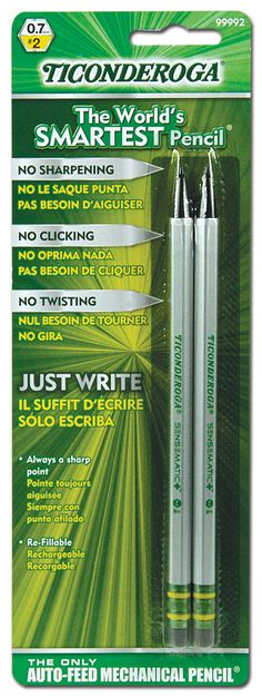 Features:  -Mechanical pencil.  -No sharpening, twisting or clicking.  -Always sharp point.  -Re fellable.  -Auto feed.  Pencil Type: -Mechanical.  Lead Size: -0.7Mm.  Item: -Pencils.  User Type: -For
