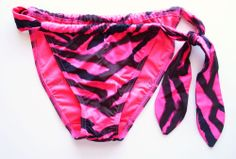Victoria's Secret Side Tie Tanga Bikini Bottoms XS Hot Pink Black Animal HH9