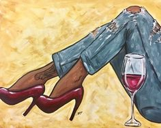 Wine & Design Durham, NC Top Choice to Paint and Sip Wine Get Your Art Buzz On, Call Us Today at Wine & Painting Parties Wine Art, Paint And Sip, Black Art Painting, Female Art, Black Girl Art, Black Girl, Black Girl Magic, Fashion Art, Canvas Art Painting