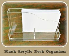 Blank Acrylic Desk Organizer with Memo Pad by lilybellaboutique, $11.50