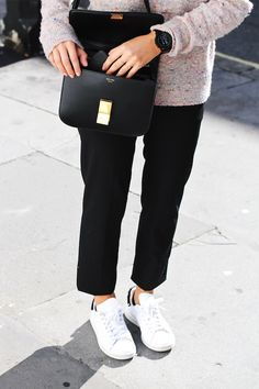 Celine box bag, speckled pink sweater, cropped black pants and Adidas Stan Smith sneakers