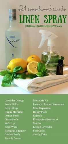 Love this! DIY linen sprays in 21 amazing scents {with FREE PRINTABLE of all the recipes} -- there are citrus ones, floral ones, calming blends, energizing recipes, bedtime pillow sprays, and more! Perfect way to freshen upholstered furniture, pillows, ru