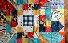 Modern Chrysanthemum quilt block plans