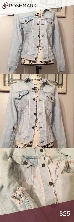 """Vintage Levi's Distressed Jean Jacket Ripped, bleached, stained, frayed, well loved and used Levi's vintage Jean jacket. Levi's label is worn off. Measurements laying flat. -- 17"""" armpit to armpit. --  23"""". shoulder swam to cuff. --  17"""" across shoulder seam to shoulder seam. --  23"""" shoulder seam to hem. --  16.5"""" waist buttoned in back, 18"""" waist unbuttoned in back. Levi's Jackets & Coats Jean Jackets"""