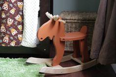 My kids will not have a horse rocker.they will have a MOOSE ROCKER. Baby Boy Nursey, Baby Owl Nursery, Moose Nursery, Woodland Nursery, Baby Boy Nurseries, Girl Nursery, Baby Nursery Organization, Vintage Nursery, Nursery Inspiration