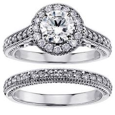 Platinum 1 3/4ct TDW Diamond Halo Engagement Bridal Ring Set