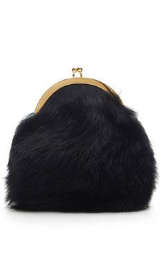 Black Shearling Sheepskin Clutch by Simone Rocha for Preorder on Moda Operandi