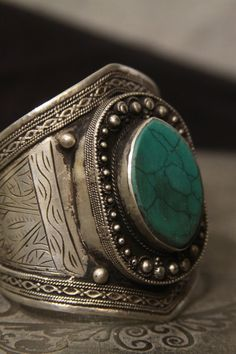 Tribal silver cuff bracelet - old Kuchi jewelry with blue green turquois