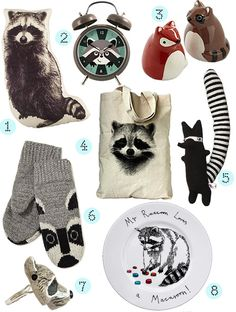 Raccoon-themed products! I want them all! http://www.designsponge.com/2013/01/animal-love-raccoon.html