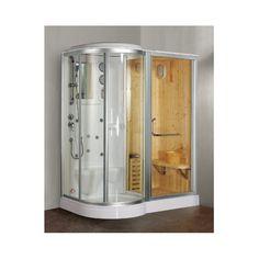 Finska box doccia idromassaggio combinato con sauna finlandese per un centro benessere personalizzato a casa tua con cromoterapia e bagno turco in promozione.
