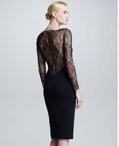 Back of the Carolina Herrera Lace long sleeve dress.  Love the back of it.  Makes it a special LBD