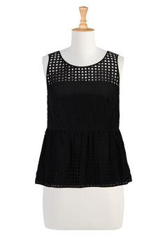 Laser Cut Modern Tops, Illusion Bodice Peplum Tops Womens designer clothing - Shop favorite Tops, Blouses, Tunics, Knits, Plus Size, Embelli...