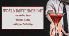 If you love cocktails, World Bartender Day is for you. This February 24 national day post is filled with bartending facts, history & recipes! Easter Cocktails, National Days, Mint Chocolate, Yummy Drinks, Bartender, Cocktail Recipes, Party Time, Celebrations, Alcoholic Drinks