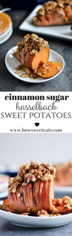 Cinnamon Sugar Hasselback Potatoes with Oatmeal Cookie Crumble I http://howsweeteats.com /howsweeteats/