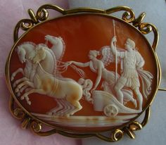 """Alexander The Great on his Chariot""  Cornelian Shell Cameo in 18k Gold Frame, Italy,  c. 1840  Frame Could Be English"