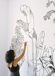 Wall drawings by Angela Leon Wall Drawing, Art Drawings, Drawing Trees, Sun Drawing, House Drawing, Plant Drawing, Diy Wall, Wall Decor, Wall Painting Decor