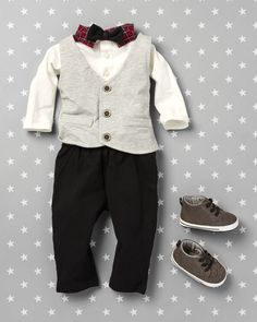 Baby fashion | Baby clothes | Vest | Button-down shirt | Bow tie | Pants | Sneakers | Set | The Children's Place