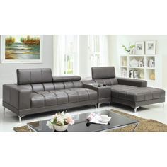 Phantom Contemporary Grey Leather Sectional Sofa W Ottoman Thick Mattress Bed House Pinterest Sofas And