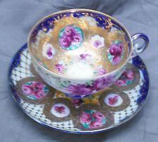 Antique Nippon Hand Painted Roses Cobalt Blue Porcelain Tea Cup and & Saucer Set
