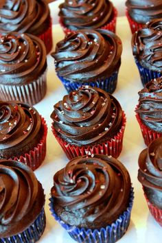 Gluten-free Chocolate Cupcakes: INGREDIENTS Cupcakes: 2 cups good quality gluten-free flour blend 1 ½ tsp. xanthan gum (omit if using a flour blend that contains xanthan) 2 cups sugar 1 tsp. baking soda ¼ tsp. salt 1 cup salted butter (2 sticks) ⅓ cup cocoa powder *see note 1 cup water ½ c. buttermilk 2 eggs 1 tsp. pure vanilla extract