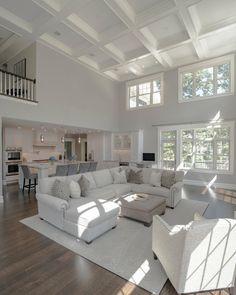 Cozy Living Rooms, Living Room Grey, Living Room Modern, Living Room Designs, Coastal Living, Small Living, White Living Room Furniture, Living Room And Kitchen Together, Condo Living