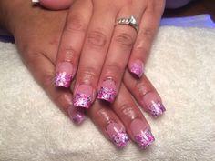Hot pink neon acrylic nails