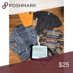 •HUGE BUNDLE• 2 sweaters, one blouse, 1 pair of new fleece leggings, and one messenger bag! Black and white is forever 21!! The other brands include target and etc! •WANT GONE• Forever 21 Sweaters Cardigans