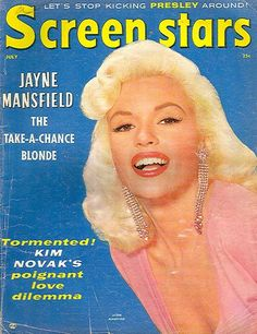 Jayne Mansfield on the cover of Screen Stars magazine, July 1957, USA.