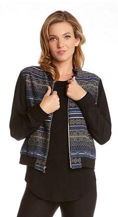 Super Cute! Love this Fabric Design! Cobalt Blue + Black Geometric Jacquard Baseball Jacket #Black #Blue #Jacquard #Baseball #Jacket #Fall #Fashion