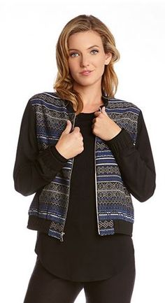 Super Cute! Love this Fabric Design! Cobalt Blue + Black Geometric Jacquard Baseball Jacket #Black #Blue #Jacquard #Baseball #Jacket #Fall #Fashion