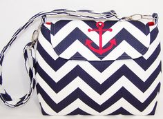 Chevron Purse with Adjustable Strap and Embroidered Anchor in Choice of Colors