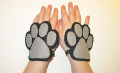Black cat felt mask tail cuffs set handmade cat by FeltFamily