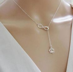 Hot Sale Tiny Infinity Lotus Pendant Necklaces for Women Choker Lucky Number Eight Geometric Adjustable Chain Silver Necklace