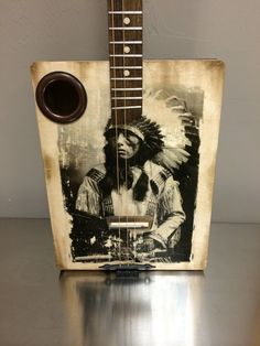 Indian chief cigar box acoustic guitar