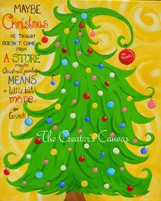 Custom Christmas Grinch Tree Holiday Dr. by TheCreatorsCanvas, $95.00
