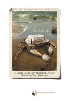 """Spork Crab"" Ads for California Coastal CleanUp Day (California Coastal Commission)"