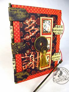 "@Jim Hankins, The Gentleman Crafter created this incredible and unique card even down to the binding. Click to read all about it, and the Chinese characters on the front translate to ""Many thanks."" #graphic45 #cards"