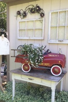 Vintage Fire truck as a planter.