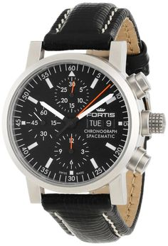 Luxury watches : Fortis Men's 625.22.31 L.01 Flieger Black Automatic Chronograph Leather Watch