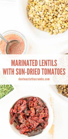 An easy vegan recipe for marinated lentils with sun-dried tomatoes – a perfect side dish! Can use brown or green lentils made in the Instant pot or stovetop! Marinated lentils are dinner's saving grace. They're perfect to make ahead and they taste good right from the fridge, and they can supplement any meal. #lentils #vegetarian #healthyrecipe Lentil Vegetable Soup, Vegetable Soup Recipes, Lentil Recipes, Bean Recipes, Allergy Free Recipes, Vegan Recipes Easy, Real Food Recipes, Vegetarian Recipes, Greek Quinoa Salad