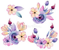 3d Nail Art, 3d Nails, Apple Blossom Flower, Baby Illustration, Free Illustrations, Hand Painted, Watercolor, Flowers, Plants
