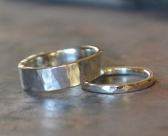 Silver Wedding Band Set His and Hers Hammered Sterling Silver Wedding Bands on Etsy, $170.00