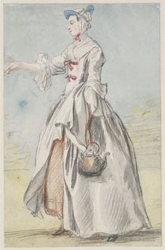 A lady carrying a kettle, circa 1755, by Paul Sandby | Royal Collection Trust