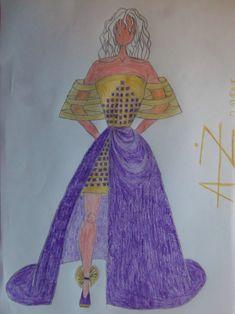 old gold, ultra violet satin gown- fashion illustration