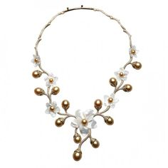 """Petite Fleur"" neckalce in yellow gold with golden pearls, mother-of-pearl, and diamonds by Jewelmer"