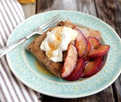 Buckwheat Crepes with Honeyed Ricotta and Sautéed Plums recipe from Whole-Grain Mornings by Megan Gordon
