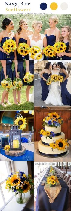 Marine navy blue and sunflower yellow rustic country wedding ideas - Marine navy blue and sunflower wedding color ideas yellow wedding ideas Top 10 Blue Wedding Color Palettes We Love for 2019 Blue Sunflower Wedding, Sunflower Colors, Wedding Sunflowers, Wedding Yellow, Navy Blue Wedding Theme, Sunflower Wedding Decorations, Blue Bridal, Rustic Sunflower Weddings, Navy Blue Weddings