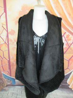 INC Reversible Knit Sherpa Faux Fur - Faux Suede Traveller Vest Black XL #INCInternationalConcepts #Reversible #Winter