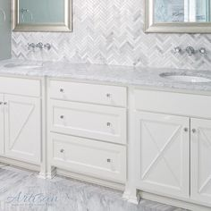 White cabinets and Carrara marble and herringbone patterned tile make for a winning combination every time.  This one is from our Butterweed court home in Norton Commons.  Credit @gretchenblack with the cool tile layout from @thetileshop.