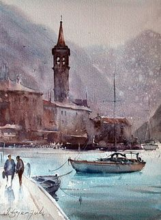Dusan Djukaric Watercolor, Perast, 27x38 cm